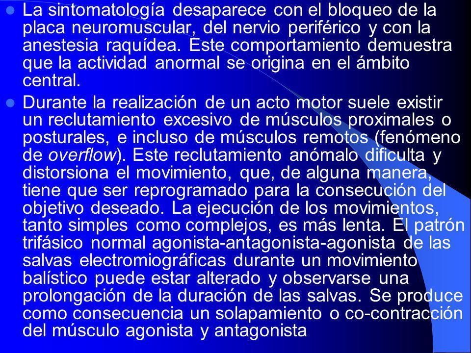 Complementarios EMG: La característica fundamental de las distonías es la contracción involuntaria, simultánea y excesiva de músculos antagonistas que