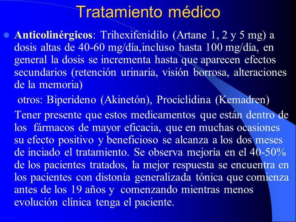Tratamiento farmacológico El tratamiento de las distonías idiopáticas es puramente sintomático y está dirigido a mejorar la postura, función y el aliv