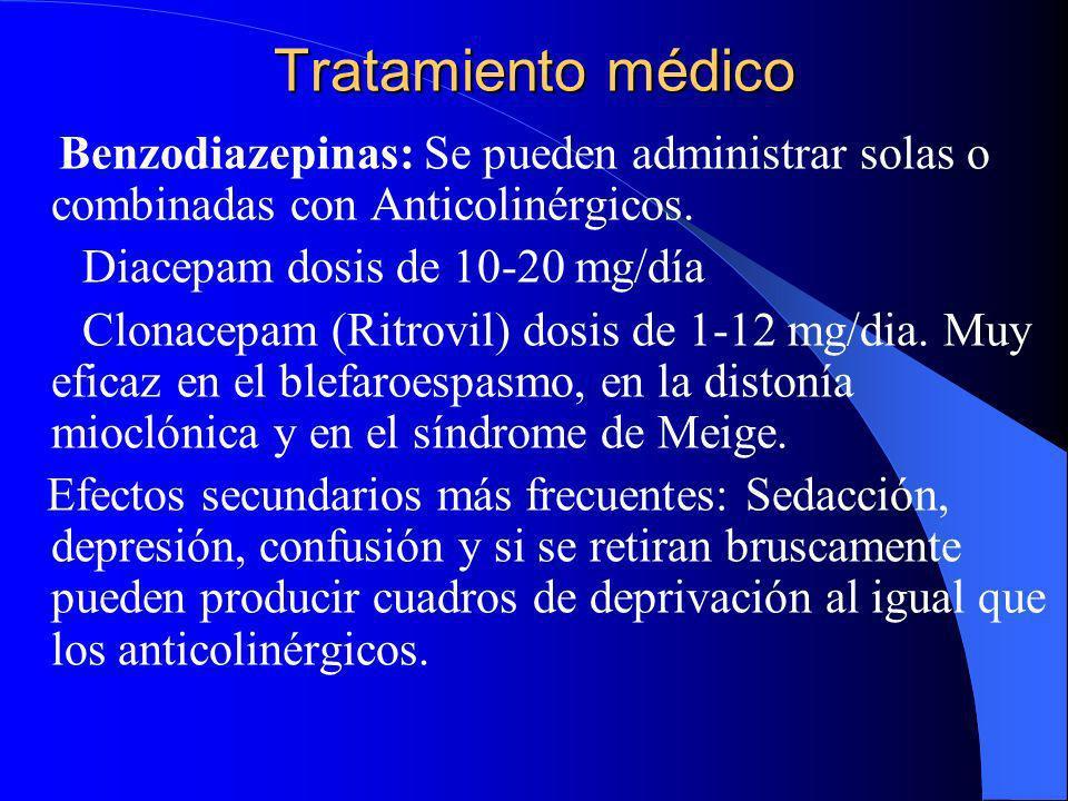 Tratamiento médico Anticolinérgicos: Trihexifenidilo (Artane 1, 2 y 5 mg) a dosis altas de 40-60 mg/día,incluso hasta 100 mg/día, en general la dosis