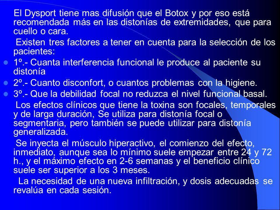 La toxina botulínica tipo A se ha convertido en el tratamiento de elección para: el blefarospasmo el espasmo hemifacial (una alteración no distónica)