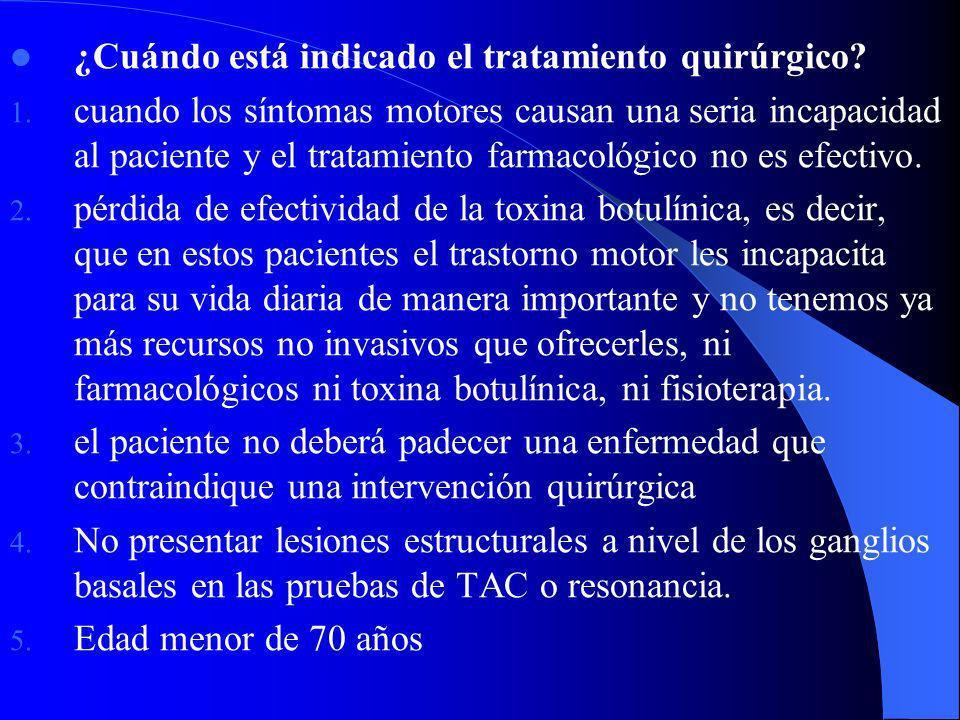 Estimulación cerebral profunda: Tálamo G. Pálido interno Subtálamo Terapia restaurativa: – Transplante adrenal autólogo en el núcleo caudado – Transpl