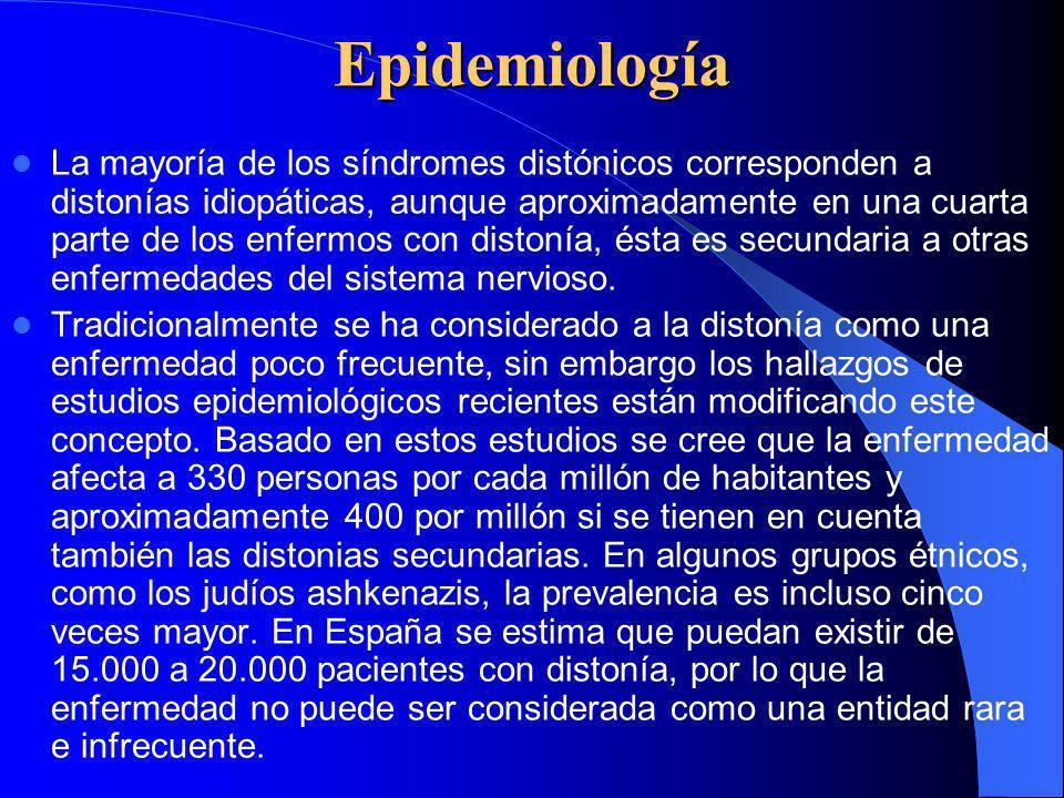Epidemiología La mayoría de los síndromes distónicos corresponden a distonías idiopáticas, aunque aproximadamente en una cuarta parte de los enfermos con distonía, ésta es secundaria a otras enfermedades del sistema nervioso.