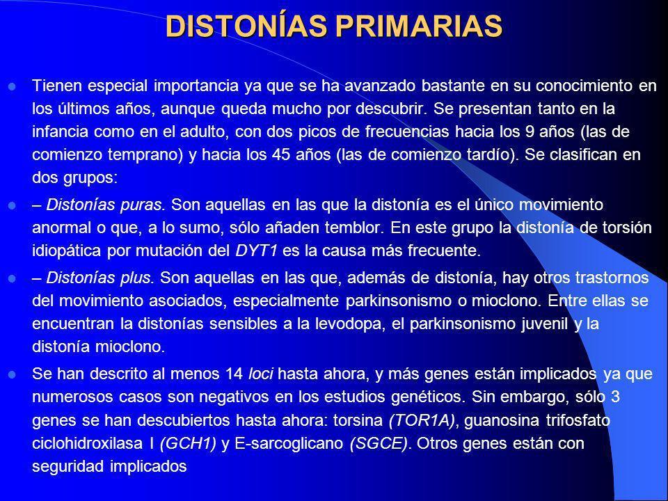 Epidemiología La mayoría de los síndromes distónicos corresponden a distonías idiopáticas, aunque aproximadamente en una cuarta parte de los enfermos