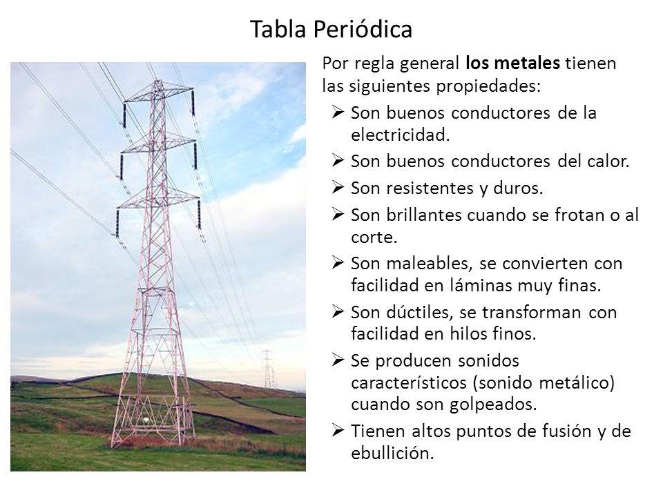 Tabla Periódica Por regla general los metales tienen las siguientes propiedades: Son buenos conductores de la electricidad. Son buenos conductores del