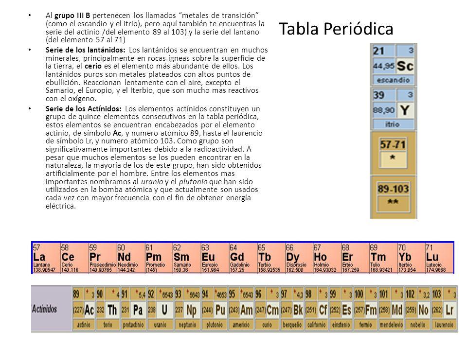 Tabla Periódica Al grupo III B pertenecen los llamados metales de transición (como el escandio y el itrio), pero aquí también te encuentras la serie d