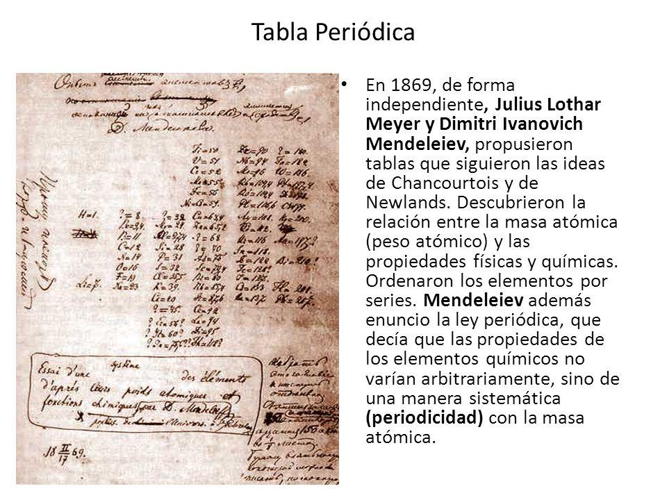 Tabla Periódica En 1869, de forma independiente, Julius Lothar Meyer y Dimitri Ivanovich Mendeleiev, propusieron tablas que siguieron las ideas de Cha