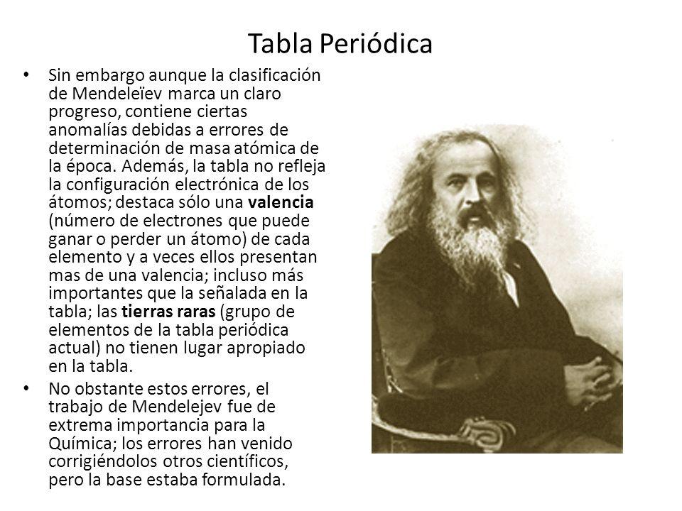 Tabla Periódica Sin embargo aunque la clasificación de Mendeleïev marca un claro progreso, contiene ciertas anomalías debidas a errores de determinaci