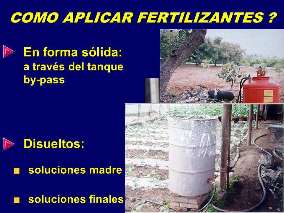INTERACCION ENTRE LOS FERTILIZANTES (COMPATIBILIDAD) Al preparar soluciones fertilizantes para fertirriego, debe tomarse en cuenta las solubilidades de los diferentes fertilizantes Las siguientes mezclas de fertilizantes en el tanque reducen la solubilidad de la mezcla debido a la formación de los siguientes precipitados: Nitrato de calcio con sulfatos = formación de CaSO 4 precipitado (yeso) Ca(NO 3 ) 2 + (NH 4 ) 2 SO 4 CaSO 4 + …..