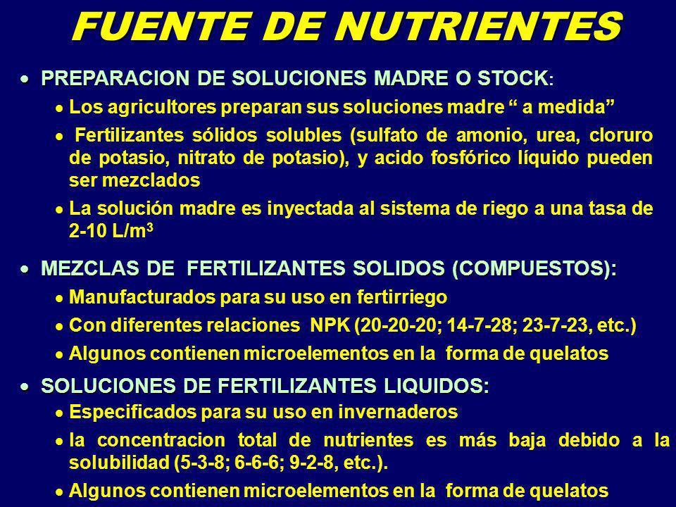 Para invernaderos N - P - K NH 4 / NO 3 En distintas proporciones Nitrato de potasio o MKP micro-nutrientes Mg B MEZCLAS PREPARADAS Acido fosforico o MKP