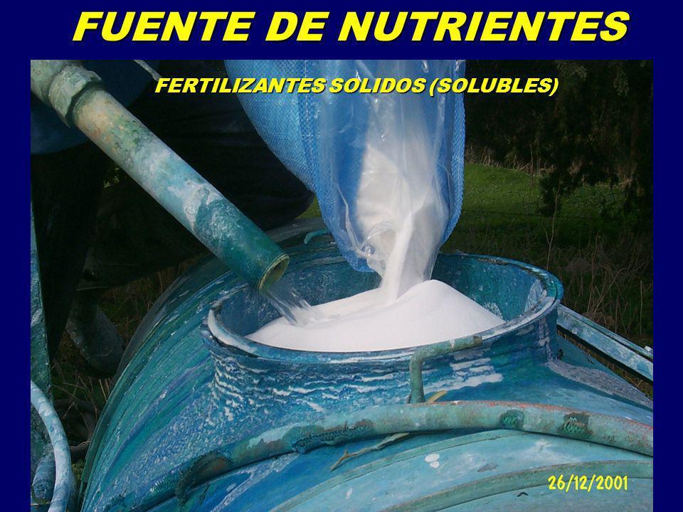 REQUIRIMIENTOS DE UN FERTILIZANTE PARA SU USO EN FERTIRRIEGO REQUIRIMIENTOS DE UN FERTILIZANTE PARA SU USO EN FERTIRRIEGO Alto contenido de nutrientes en solución Solubilidad completa en condiciones de campo Rápida disolución en el agua de riego Grado fino, fluyente Grado fino, fluyente No obturar goteros No obturar goteros Bajo contenido de insolubles Mínimo contenido de agentes condicionantes Compatible con otros fertilizantes Compatible con otros fertilizantes Mínima interacción con el agua de ruego Mínima interacción con el agua de ruego Sin variaciones bruscas del pH del agua de riego (3.5<pH<9) Sin variaciones bruscas del pH del agua de riego (3.5<pH<9) Baja corrosividad del cabezal y del sistema de riego