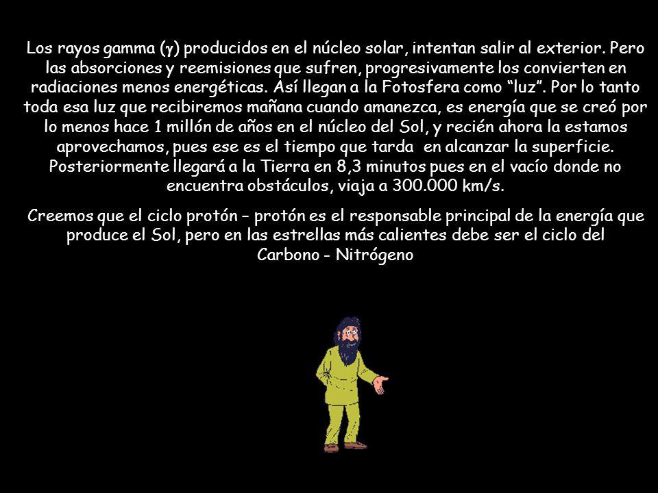 Los rayos gamma ( ) producidos en el núcleo solar, intentan salir al exterior. Pero las absorciones y reemisiones que sufren, progresivamente los conv