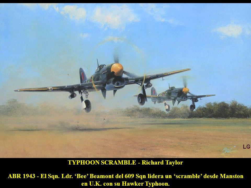 CLASH OF EAGLES - Roy Grinnell MAY 1944 - El Tte Hackmann, con el cañón de su Bf109G encasquillado, opta por embestir al P-51B Mustang del Cap Bennett del 336 Ftr Sqn.