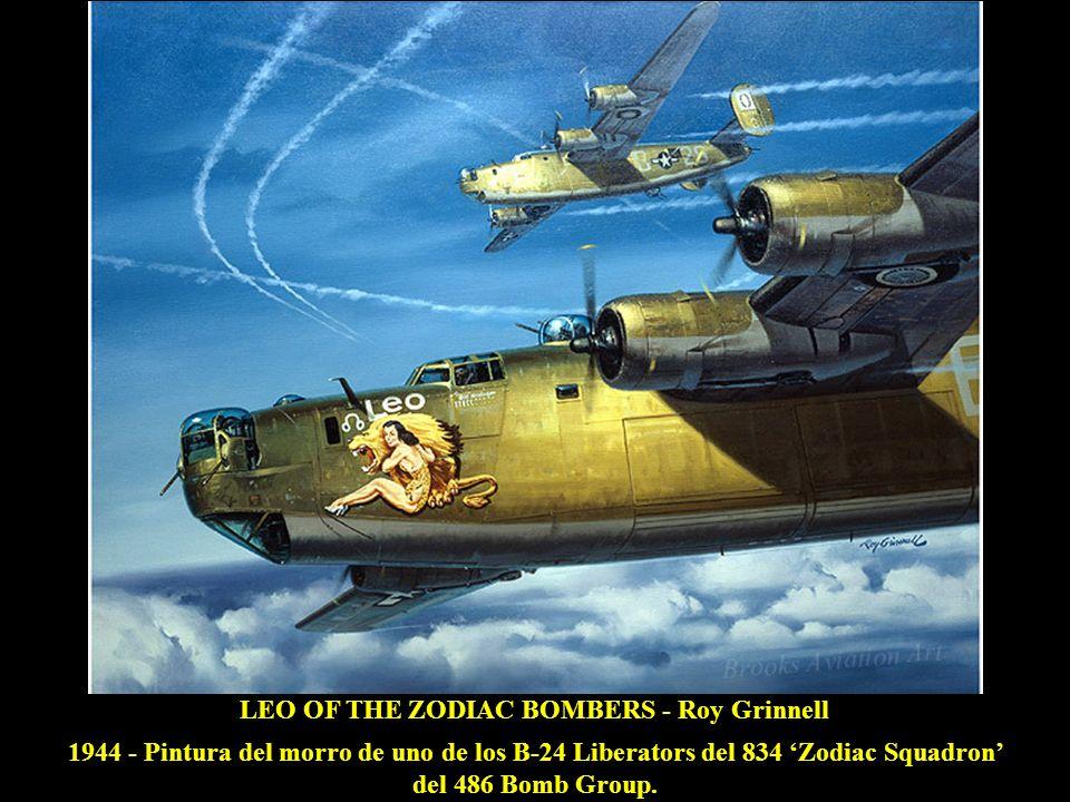 FORTRESSES UNDER FIRE - Keith Ferris AGO 1944 - El B-17G Thunder Bird y sus colegas del 303 Bomb Group son atacados por Me 109s y Fw 190s, de regreso de una misión sobre Wiesbaden.