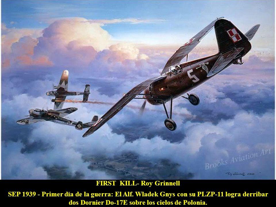 INTO THE TEETH OF THE TIGER - William Phillips DIC 1943 - Sobre China, un P-40 del 75 Ftr Sqn Flying Tigers colisiona frontalmente con un Oscar japonés, derribándolo, y sigue combatiendo logrando 4 victorias más.