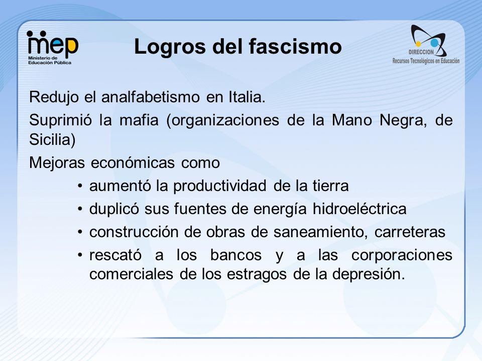 Logros del fascismo Redujo el analfabetismo en Italia. Suprimió la mafia (organizaciones de la Mano Negra, de Sicilia) Mejoras económicas como aumentó