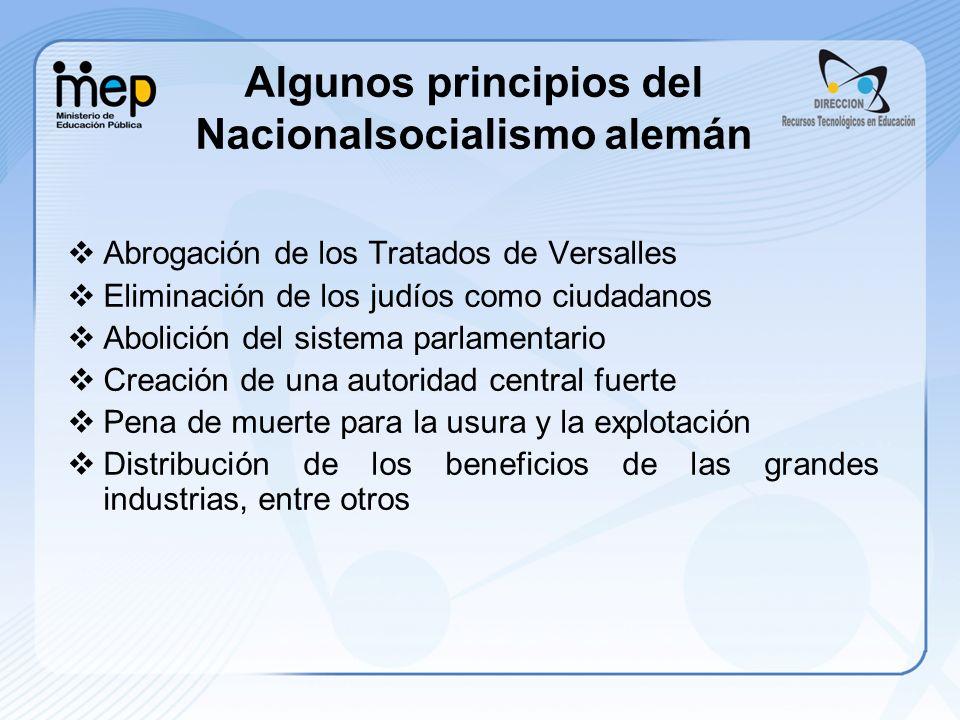 Algunos principios del Nacionalsocialismo alemán Abrogación de los Tratados de Versalles Eliminación de los judíos como ciudadanos Abolición del siste