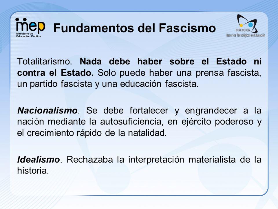 Fundamentos del Fascismo Totalitarismo. Nada debe haber sobre el Estado ni contra el Estado. Solo puede haber una prensa fascista, un partido fascista
