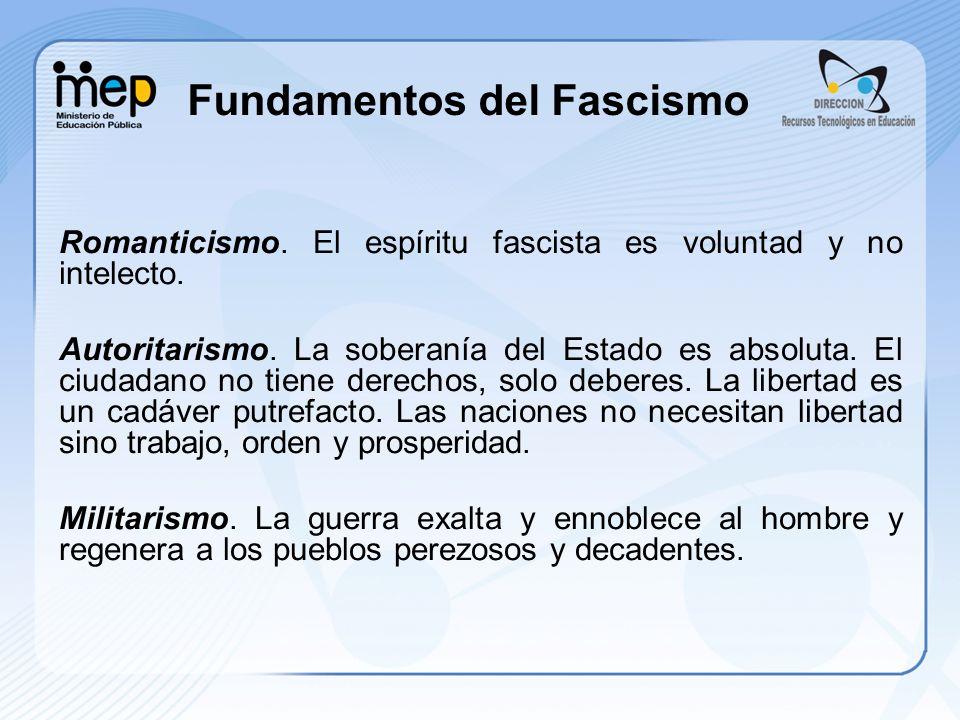Fundamentos del Fascismo Romanticismo. El espíritu fascista es voluntad y no intelecto. Autoritarismo. La soberanía del Estado es absoluta. El ciudada
