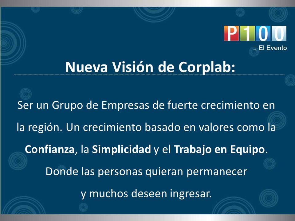 Nueva Visión de Corplab: :: El Evento Ser un Grupo de Empresas de fuerte crecimiento en la región. Un crecimiento basado en valores como la Confianza,