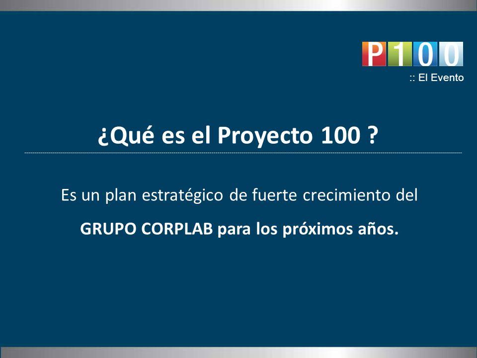 ¿Qué es el Proyecto 100 ? :: El Evento Es un plan estratégico de fuerte crecimiento del GRUPO CORPLAB para los próximos años.