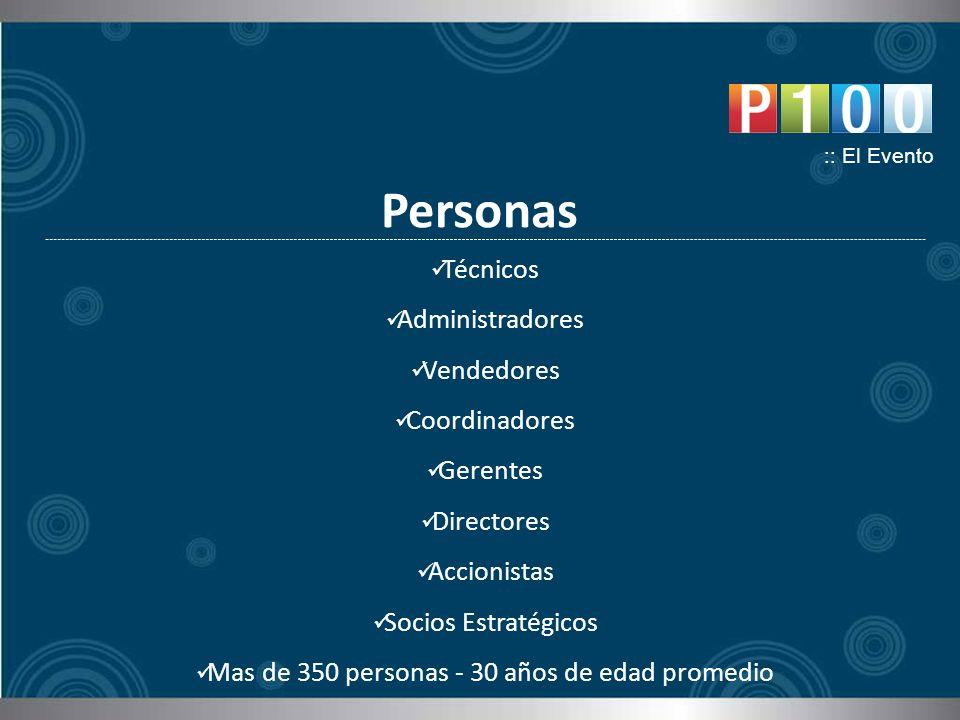 Personas :: El Evento Técnicos Administradores Vendedores Coordinadores Gerentes Directores Accionistas Socios Estratégicos Mas de 350 personas - 30 años de edad promedio