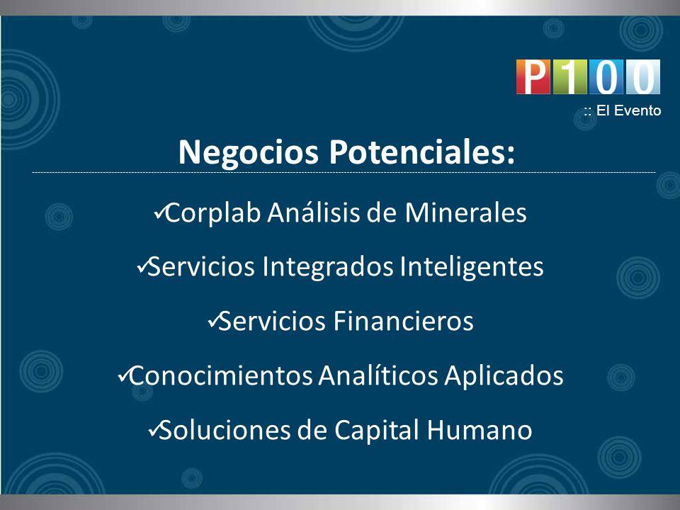 Negocios Potenciales: :: El Evento Corplab Análisis de Minerales Servicios Integrados Inteligentes Servicios Financieros Conocimientos Analíticos Aplicados Soluciones de Capital Humano