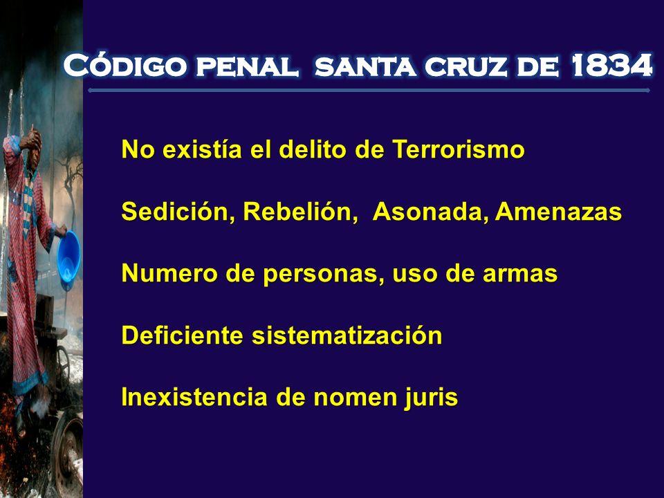 No existía el delito de Terrorismo Sedición, Rebelión, Asonada, Amenazas Numero de personas, uso de armas Deficiente sistematización Inexistencia de n