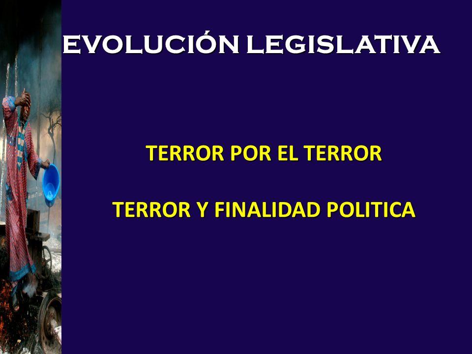 EVOLUCIÓN LEGISLATIVA TERROR POR EL TERROR TERROR Y FINALIDAD POLITICA