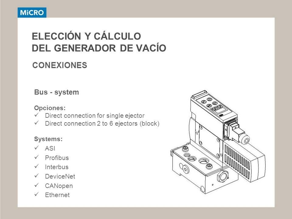 ELECCIÓN Y CÁLCULO DEL GENERADOR DE VACÍO CONEXIONES Opciones: Direct connection for single ejector Direct connection 2 to 6 ejectors (block) Systems: