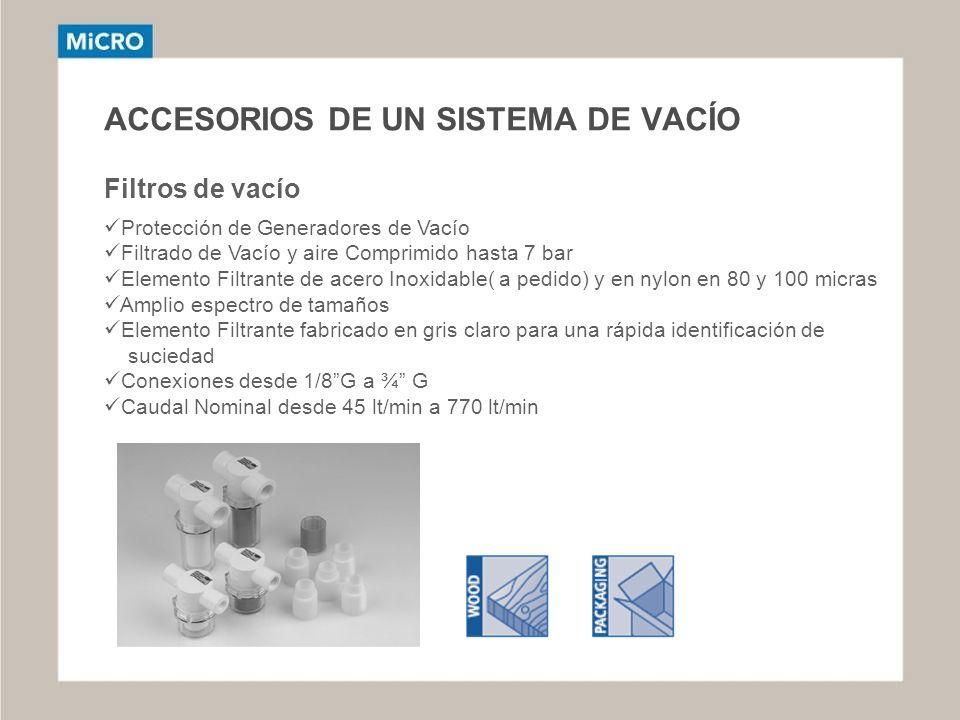 ACCESORIOS DE UN SISTEMA DE VACÍO Filtros de vacío Protección de Generadores de Vacío Filtrado de Vacío y aire Comprimido hasta 7 bar Elemento Filtran