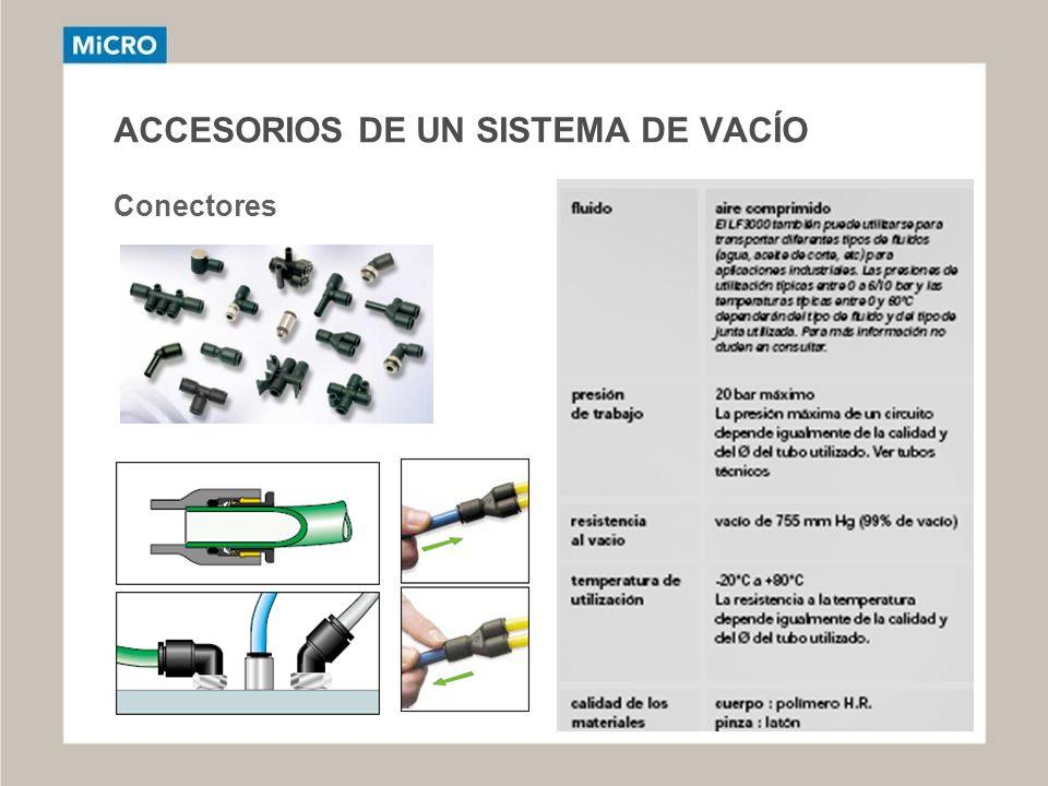 ACCESORIOS DE UN SISTEMA DE VACÍO Conectores