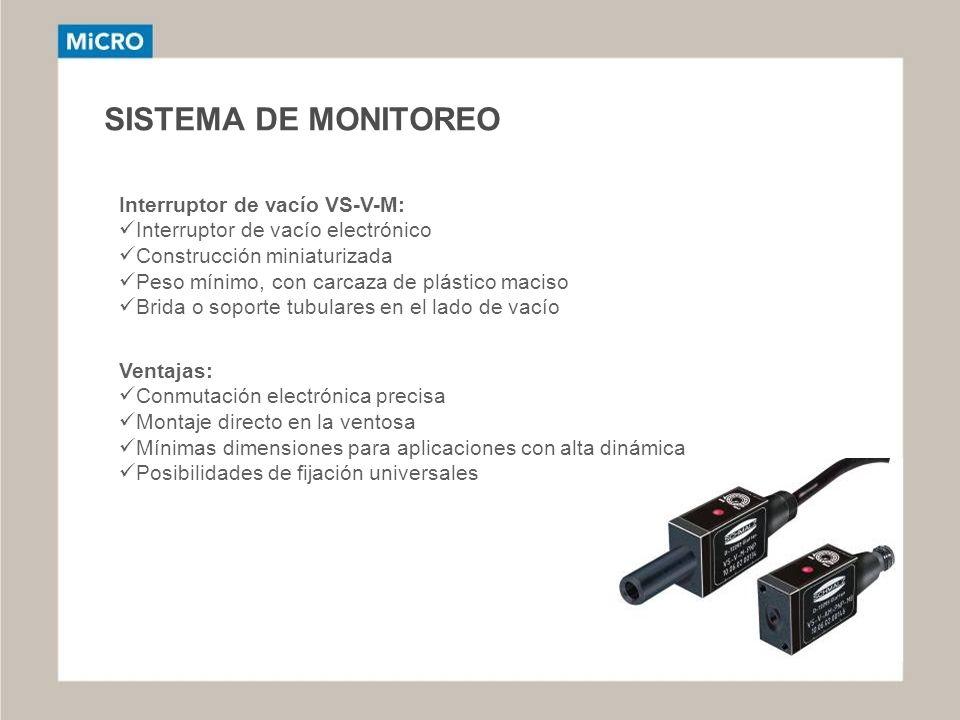 SISTEMA DE MONITOREO Interruptor de vacío VS-V-M: Interruptor de vacío electrónico Construcción miniaturizada Peso mínimo, con carcaza de plástico mac