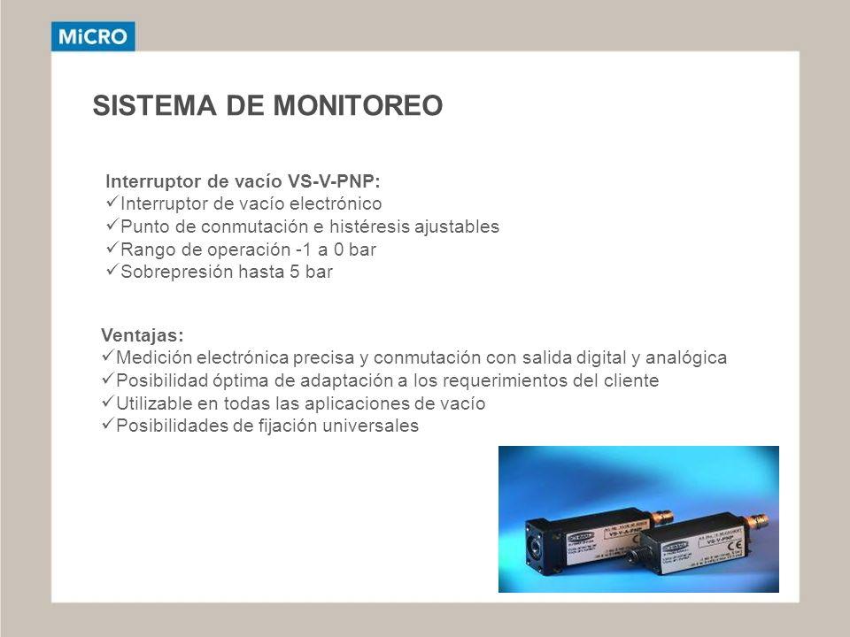 SISTEMA DE MONITOREO Interruptor de vacío VS-V-PNP: Interruptor de vacío electrónico Punto de conmutación e histéresis ajustables Rango de operación -