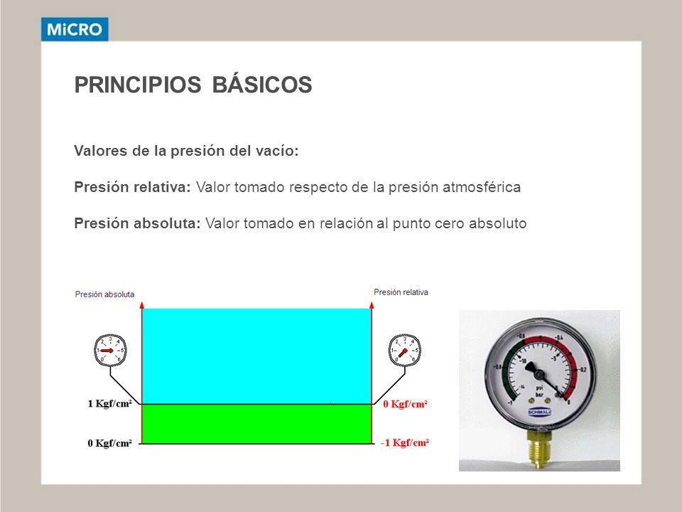 PRINCIPIOS BÁSICOS Valores de la presión del vacío: Presión relativa: Valor tomado respecto de la presión atmosférica Presión absoluta: Valor tomado e