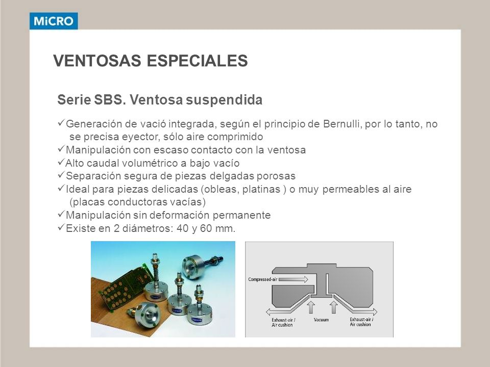 VENTOSAS ESPECIALES Serie SBS. Ventosa suspendida Generación de vació integrada, según el principio de Bernulli, por lo tanto, no se precisa eyector,