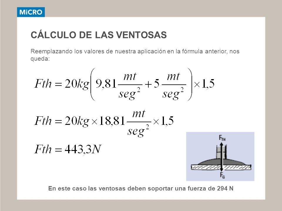 CÁLCULO DE LAS VENTOSAS Reemplazando los valores de nuestra aplicación en la fórmula anterior, nos queda: En este caso las ventosas deben soportar una