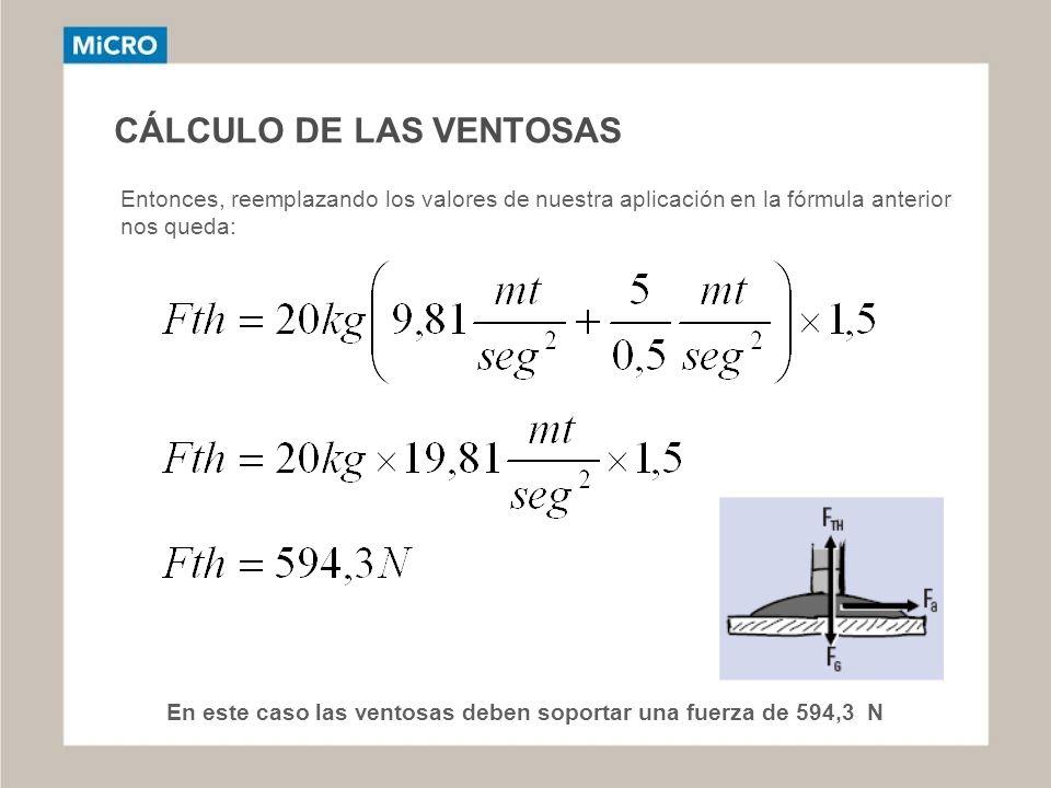 CÁLCULO DE LAS VENTOSAS Entonces, reemplazando los valores de nuestra aplicación en la fórmula anterior nos queda: En este caso las ventosas deben sop