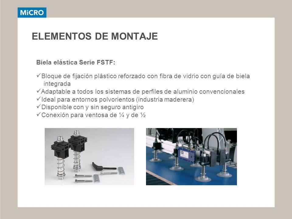 ELEMENTOS DE MONTAJE Biela elástica Serie FSTF: Bloque de fijación plástico reforzado con fibra de vidrio con guía de biela integrada Adaptable a todo
