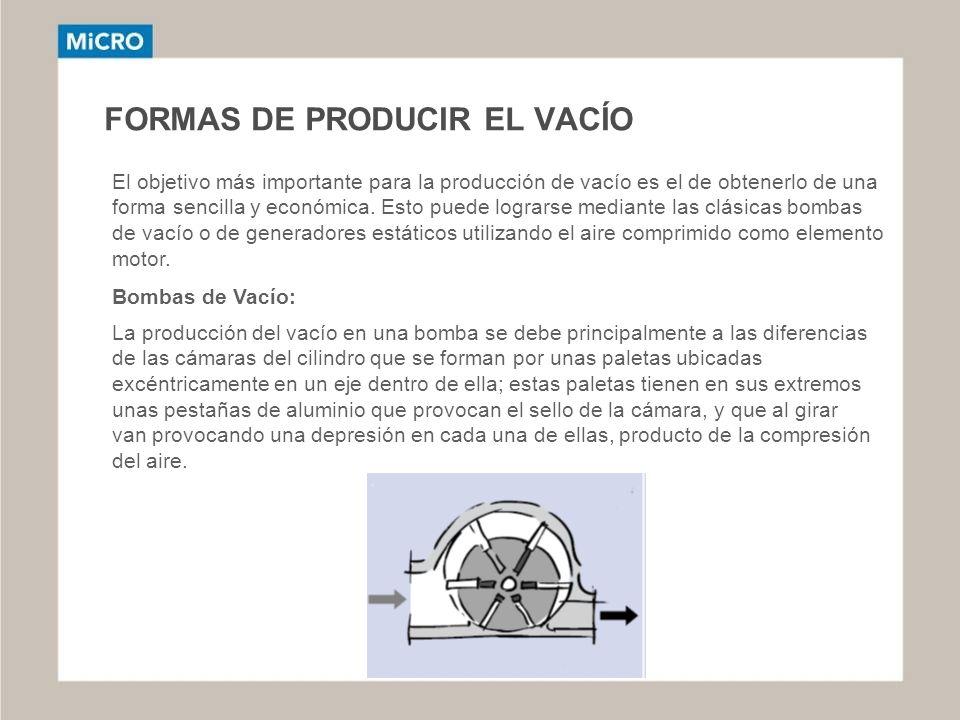 FORMAS DE PRODUCIR EL VACÍO El objetivo más importante para la producción de vacío es el de obtenerlo de una forma sencilla y económica. Esto puede lo