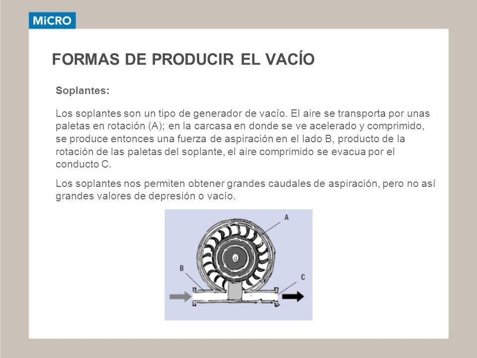 FORMAS DE PRODUCIR EL VACÍO Soplantes: Los soplantes son un tipo de generador de vacío. El aire se transporta por unas paletas en rotación (A); en la