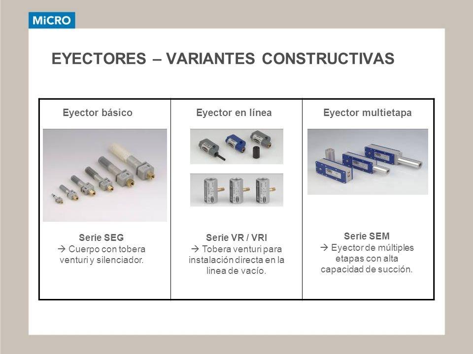 EYECTORES – VARIANTES CONSTRUCTIVAS Eyector básicoEyector en líneaEyector multietapa Serie SEG Cuerpo con tobera venturi y silenciador. Serie VR / VRI