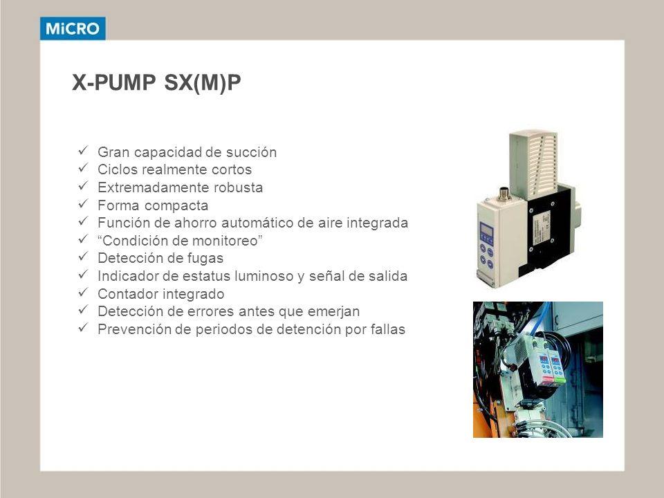 X-PUMP SX(M)P Gran capacidad de succión Ciclos realmente cortos Extremadamente robusta Forma compacta Función de ahorro automático de aire integrada C