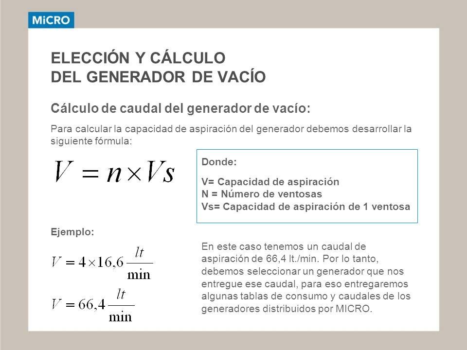 ELECCIÓN Y CÁLCULO DEL GENERADOR DE VACÍO Cálculo de caudal del generador de vacío: Para calcular la capacidad de aspiración del generador debemos des