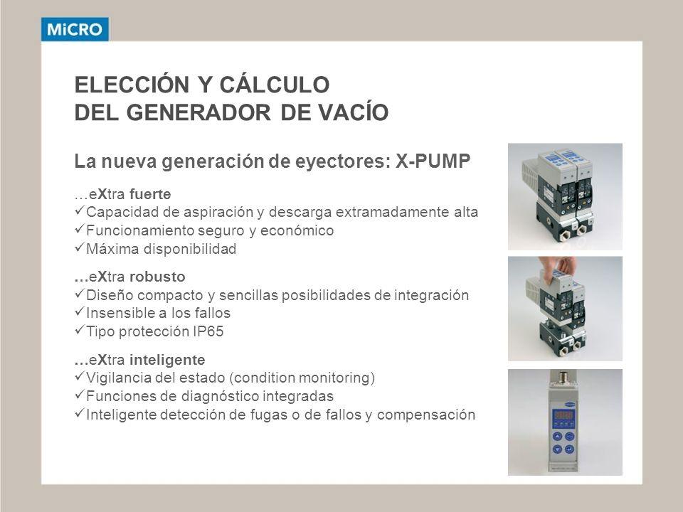 ELECCIÓN Y CÁLCULO DEL GENERADOR DE VACÍO La nueva generación de eyectores: X-PUMP …eXtra fuerte Capacidad de aspiración y descarga extramadamente alt