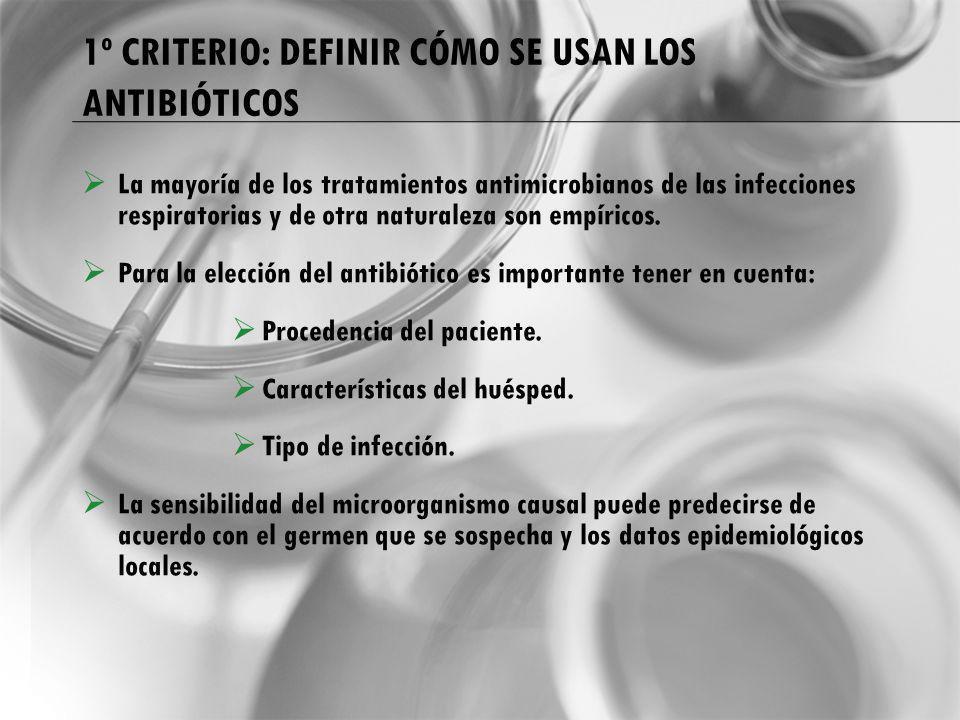 1º CRITERIO: DEFINIR CÓMO SE USAN LOS ANTIBIÓTICOS La mayoría de los tratamientos antimicrobianos de las infecciones respiratorias y de otra naturalez