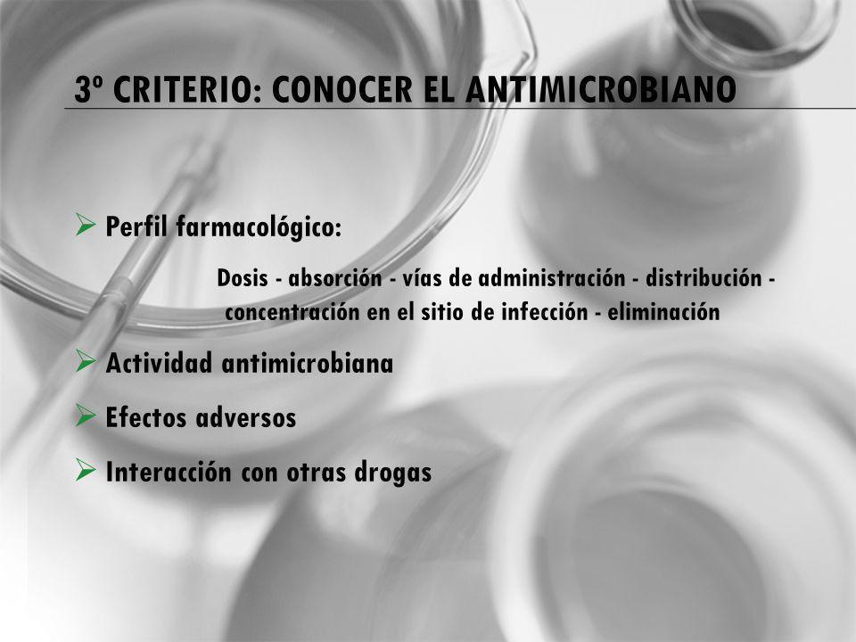 3º CRITERIO: CONOCER EL ANTIMICROBIANO Perfil farmacológico: Dosis - absorción - vías de administración - distribución - concentración en el sitio de infección - eliminación Actividad antimicrobiana Efectos adversos Interacción con otras drogas