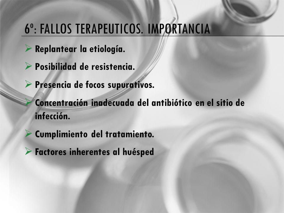 6º: FALLOS TERAPEUTICOS. IMPORTANCIA Replantear la etiología. Posibilidad de resistencia. Presencia de focos supurativos. Concentración inadecuada del
