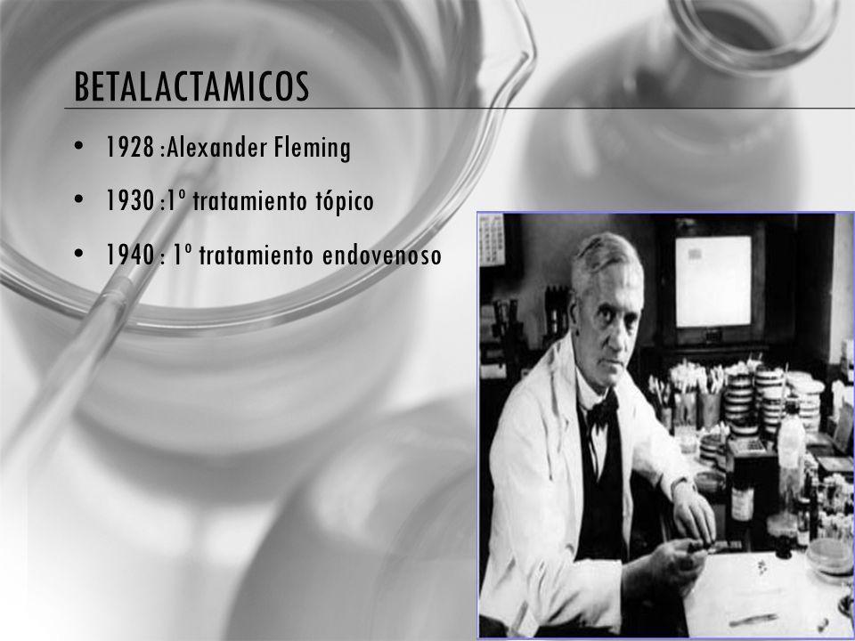 BETALACTAMICOS 1928 :Alexander Fleming 1930 :1º tratamiento tópico 1940 : 1º tratamiento endovenoso