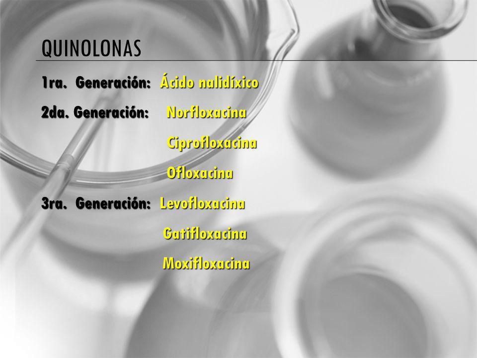 QUINOLONAS 1ra. Generación: Ácido nalidíxico 2da. Generación: Norfloxacina Ciprofloxacina Ciprofloxacina Ofloxacina Ofloxacina 3ra. Generación: Levofl