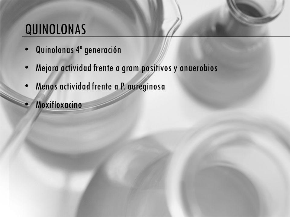 QUINOLONAS Quinolonas 4ª generación Mejora actividad frente a gram positivos y anaerobios Menos actividad frente a P. aureginosa Moxifloxacino